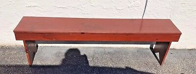 "Antique Vtg Bench Seat 50"" Rustic Pine/Oak Farmhouse Barn Old Red Paint Sturdy"