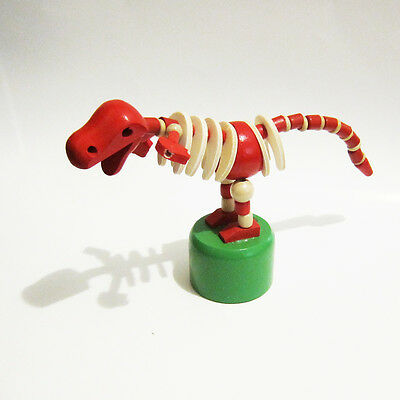 Classic Wooden Toy Push Puppet Dinosaur Skeleton Red w/Green Base. T-Rex