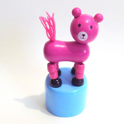 Classic Wooden Toy Push Puppet HOT PINK BEAR Blue Base Wooden Cat