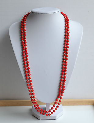 Antique Victorian Red Czech Glass Necklace Faceted Hand Cut & Knotted Rope 59''