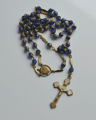Antique Cobalt Blue Glass Crystal & Brass Sacred Heart Catholic Rosary