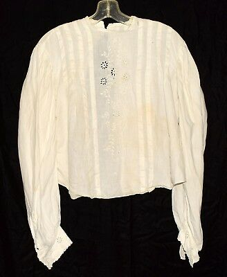 Antique Victorian 1800's Creamy White w/ Embroidered Flowers Linen Blouse Sz 34