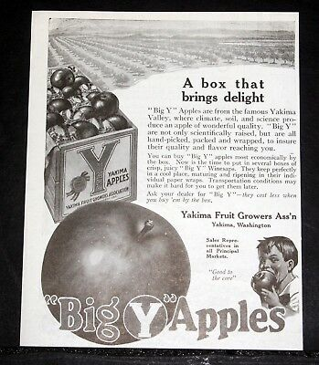 "1918 Old Magazine Print Ad, ""big Y"" Apples, A Box That Brings Delight, Yakima!"