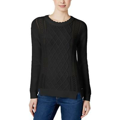 Tommy Hilfiger 7183 Womens Dalia Black Cable Knit Pullover Sweater Top S BHFO