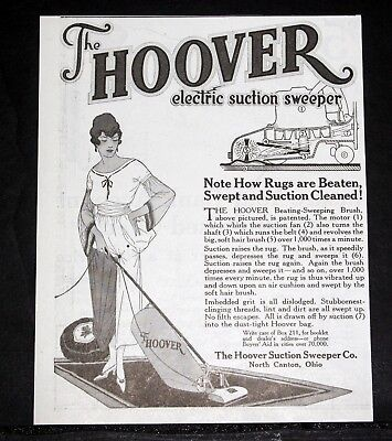 1918 Old Magazine Print Ad, Hoover Electric Suction Sweeper, Rugs Are Beaten!