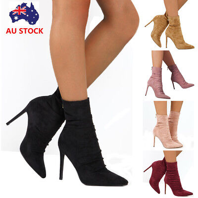 Women's Suede Ankle Boots Pointed Toe Stiletto High Heel Zipper Pull On Boots