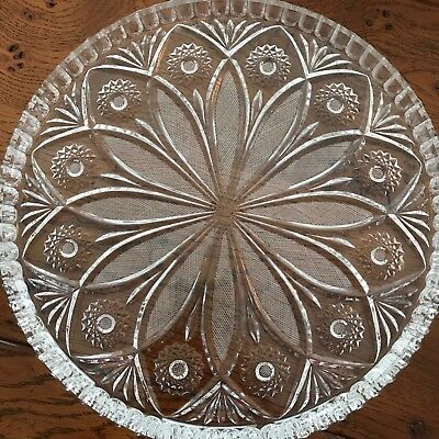 """Vintage Cut Glass Round Plate Platter Tray 11.5"""" fluted edge beautiful"""