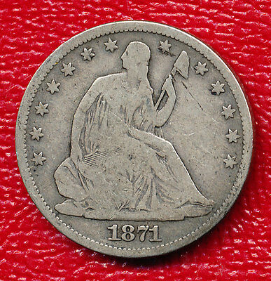 1871-S Seated Liberty Silver Half Dollar **very Nice Toning** Free Shipping!