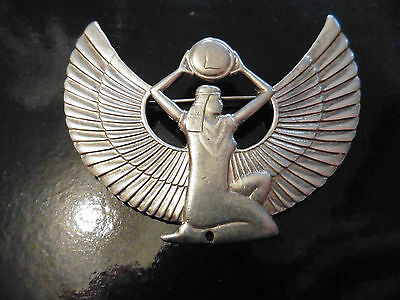 Vintage Silver Egyptian style Brooch. Sterling Silver Hall Marked Hand Made1980s