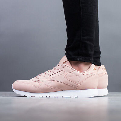 1738eb820e771 NEW WOMENS REEBOK NUDE NATURAL PINK CLASSIC LEATHER GOLDEN NEUTRAL ...