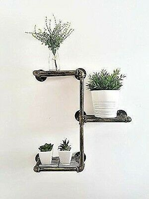 Vintage 3 Tier Floating Pipe Shelves Industrial Urban Chic Wall Mounted Storage
