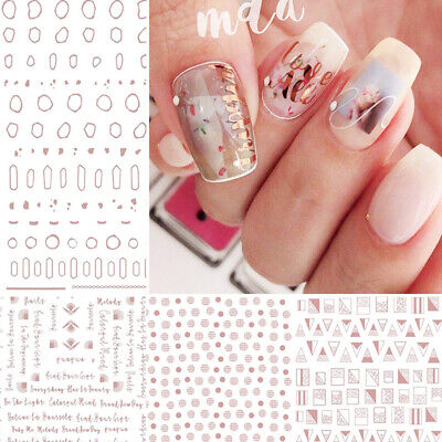 Gold Metal 3D Nail Stickers Stripes Wave Line Nail Art Adhesive Transfer Sticker