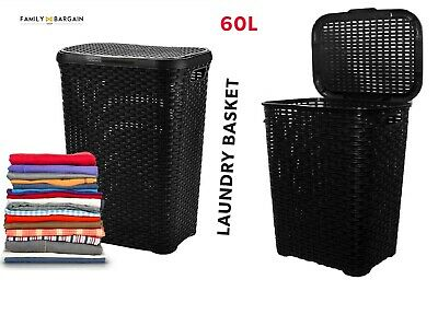 2X Plastic Woven Rattan Style 60L Laundry Basket Hamper Storage Box Bin Black