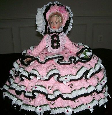 "Handmade Crochet 18"" Southern Belle Kitty Collier Bed Pillow Doll  [Ooak]"