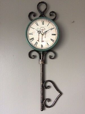 Shabby Vintage Style Key Shaped Wall Clock French Country Style Roman Numerals.