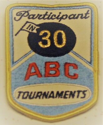 Vintage ABC American Bowling Congress Participant in 30 Tournaments Award Patch