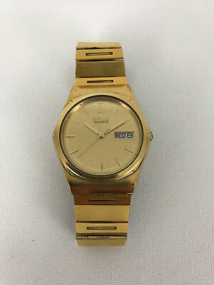 Vintage 1983 SEIKO Quartz SQ 8123-7009 5 Jewel Wrist Watch Gold Tone