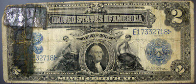 1899 US $2 TWO DOLLAR LARGE SILVER CERTIFICATE CURRENCY NOTE -Vernon/McClung