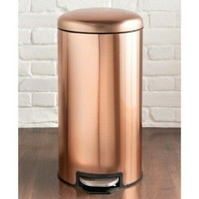 Copper Pedal Bin 30L Removable Inner Bin For Easy Cleaning and Non-Slip Base New