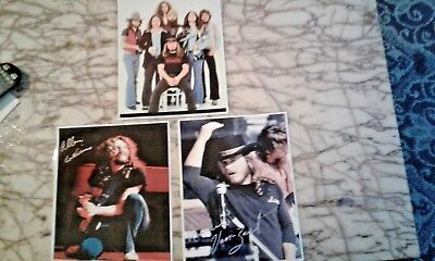 Lynyrd Skynyrd Autographed Rp Photos-Set Of 3-Ronnie-Allen-Band Photo