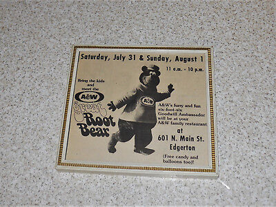 1976 Edgerton WI A&W Root Beer Drive In Great Root Bear Framed AD Wall Display