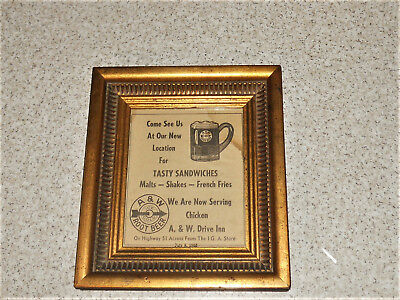 1953 Edgerton WI A&W Root Beer Ice Cold Framed AD Wall Display Sign & Mug