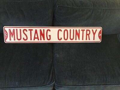 Mustang Country Heavy Metal Street Road Sign 6x36 Cabin Home Garage Farm Decor