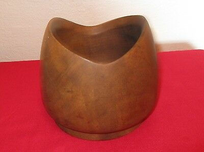 "HAND MADE UNUSUALLY SHAPED WOOD BOWL/VASE 5"" tall 4 1/2"" diameter"