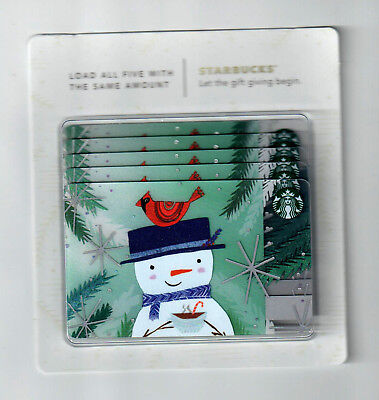 (5) lot Starbucks Card 2017 Merry Christmas card MINT HTF rare snowman hanger