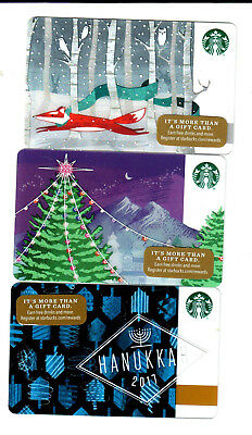 3 Starbucks cards lot 2017 Merry Christmas card MINT HTF rare fox tree Hanukkah