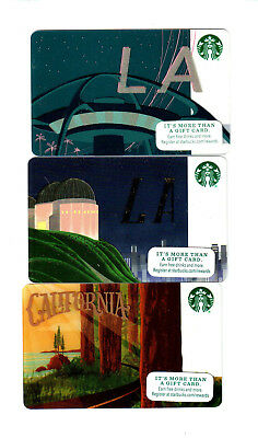 3) 2015 2016 Starbucks Los Angeles LA California Cards Mint USA rare lot of 3