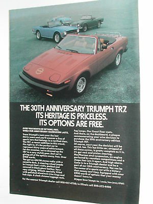 1980 TRIUMPH TR7 advertisement, Triumph ad, TR 7, 30th anniv. TR3A etc