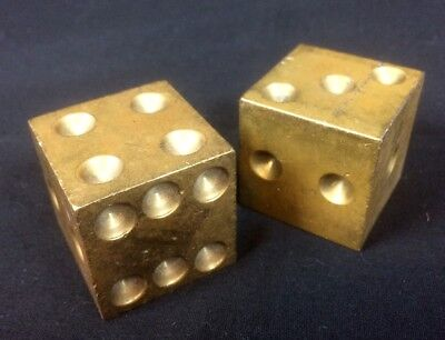 VINTAGE Brass GAMBLING DICE -- SET OF SOLID METAL Large CUBES -- NICE!