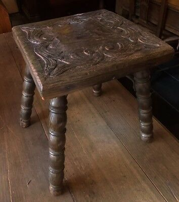 Antique carved heavy solid dark OAK FOOT STOOL square splayed bobbin legs rustic
