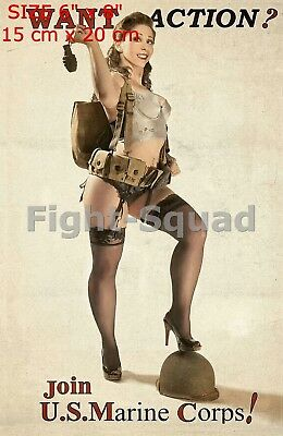 """WW2 Picture Photo Pin up Girl Join the MARINES  2118 Size 6"""" x 8"""" (20 x 15 cm)"""