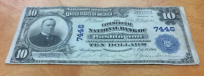 1902 $10 Large Size The Commercial National Bank Of Washington Charter #7446