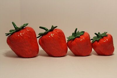 Vintage Strawberry Canister Set of 4 Ceramic Kitchen and Home Decorative
