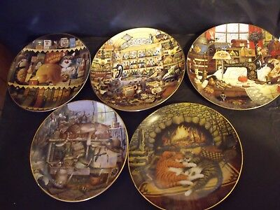 5 Charles Wysocki Plates - Cat Collector Plates