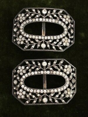 Pair of Antique Silver Paste Sash or Paste Shoe Buckles with Flower Motif