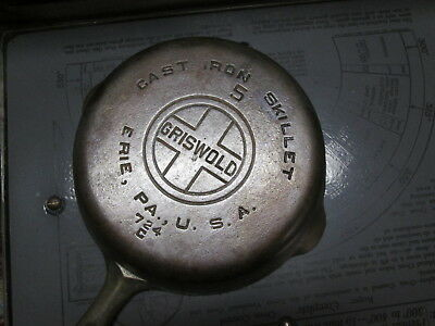 Vintage Griswold #5 Cast Iron Skillet, Flat Bottom, Large Logo, #724C,