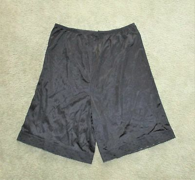 Vintage 80s VANITY FAIR Black Nylon PETTIPANTS PANTI PANT SLIP sz MEDIUM ~ EUC
