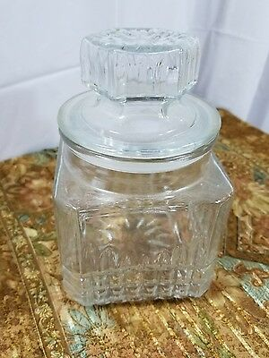 Koeze's Jar Vintage Canister Glass Nut Bar Apothecary Candy Medium Clear w Lid