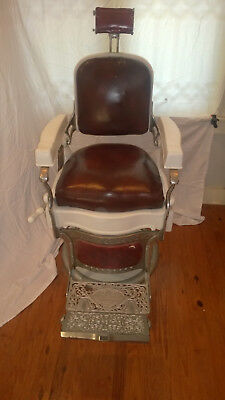 Koken Antique Barber Chair Early 1900's Highly Detailed White Porcelain