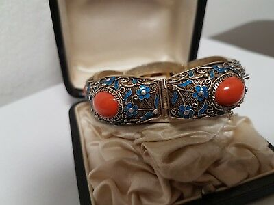 Traum: älteres Armband Silber, Koralle, Cloisonne, China