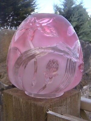 Vintage Pink Glass Oil Lamp Shade Tulip Shape Frosted With Clear Flowers