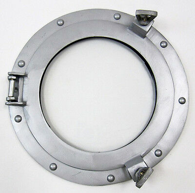 "Ship's Cabin Porthole Window Glass 11"" Aluminum Finish Round Wall Decor New"