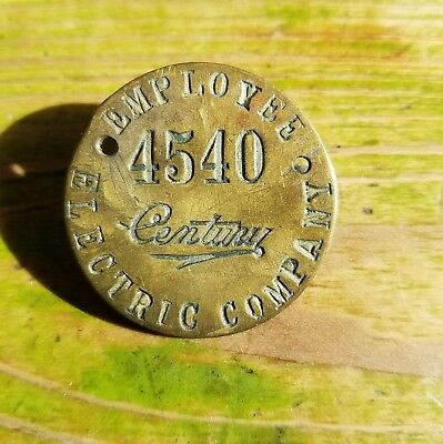 Old ANTIQUE CENTURY ELECTRIC fan COMPANY PIN EMPLOYEE  BADGE BRASS