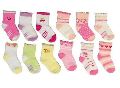 Girls Socks Newborn Baby Girl 12 Pair 0-12 Months Mixed Pattern Pink Red New