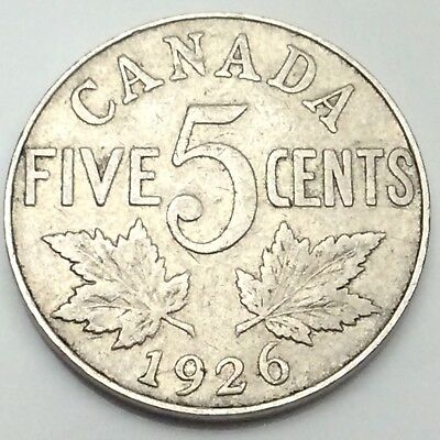 1926 Near Six Canada Large 5 Five Cents Nickel Circulated Canadian Coin D437