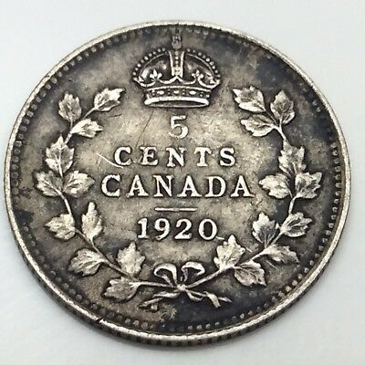1920 Canada Small 5 Five Cents Silver Circulated Canadian Coin D447